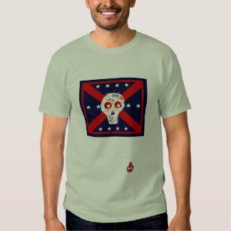 red, white, blue  skull pirate flag grey t-shirt