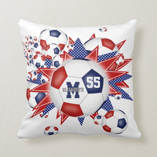 red white blue soccer ball blowout girls sports throw pillow