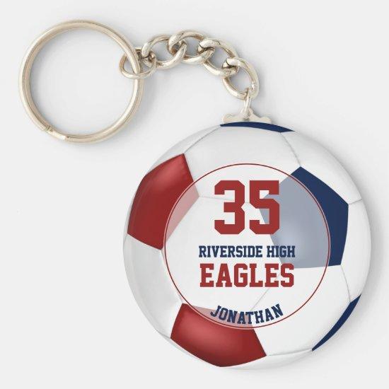 red white blue soccer ball boys team spirit keychain