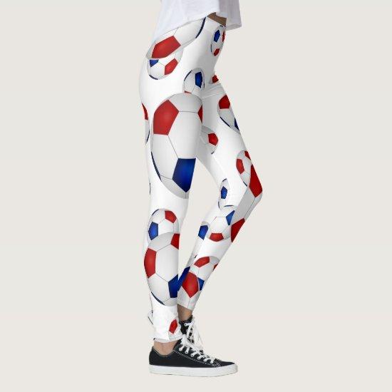 red white blue soccer balls pattern leggings