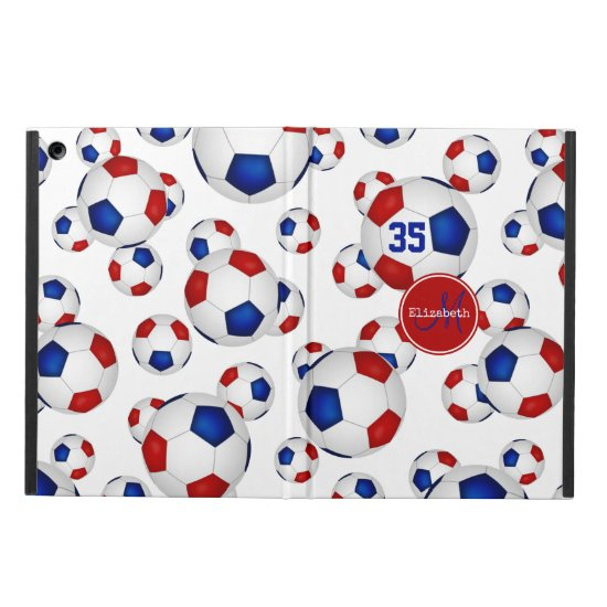 red white blue soccer balls pattern personalized case for iPad air
