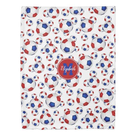 Red white blue soccer balls pattern personalized duvet cover