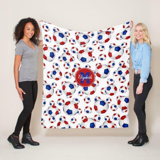 red white blue soccer balls pattern personalized fleece blanket