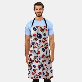 red white blue soccer balls pattern sports fan apron