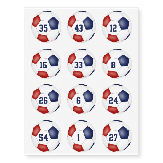 red white blue soccer balls w jersey number set 12 temporary tattoos
