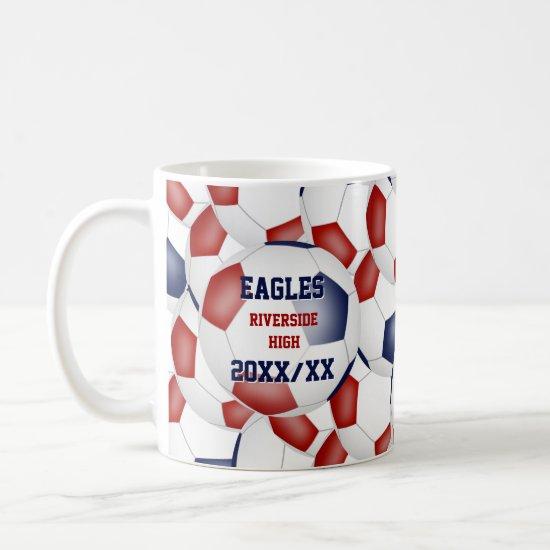 red white blue soccer school team coach gift coffee mug