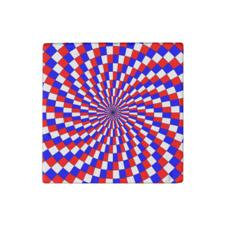 Red White Blue Spiral by Kenneth Yoncich Stone Magnet