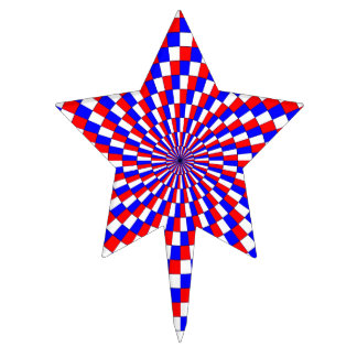 Red White Blue Spiral Cake Toppers