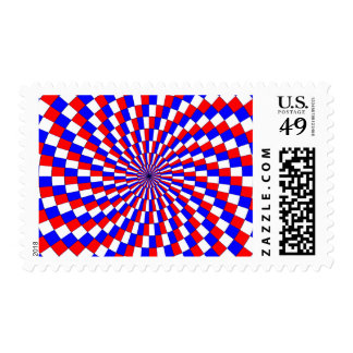 Red White Blue Spiral Postage Stamps