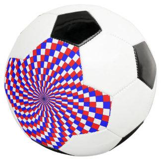 Red White Blue Spiral Soccer Ball