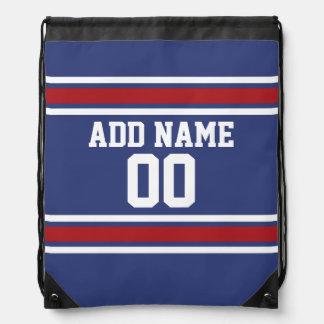 Red White Blue Sports Jersey Custom Name Number Drawstring Bag