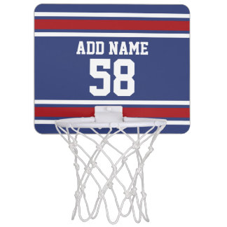Red White Blue Sports Jersey Custom Name Number Mini Basketball Hoop