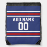 Red White Blue Sports Jersey Custom Name Number Drawstring Backpack