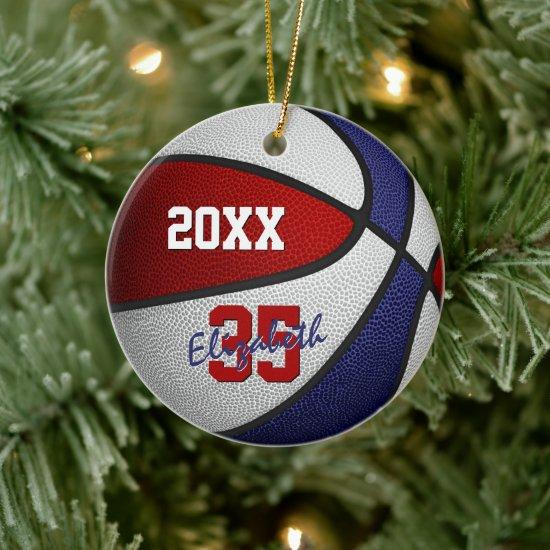 red white blue sports keepsake basketball ceramic ornament