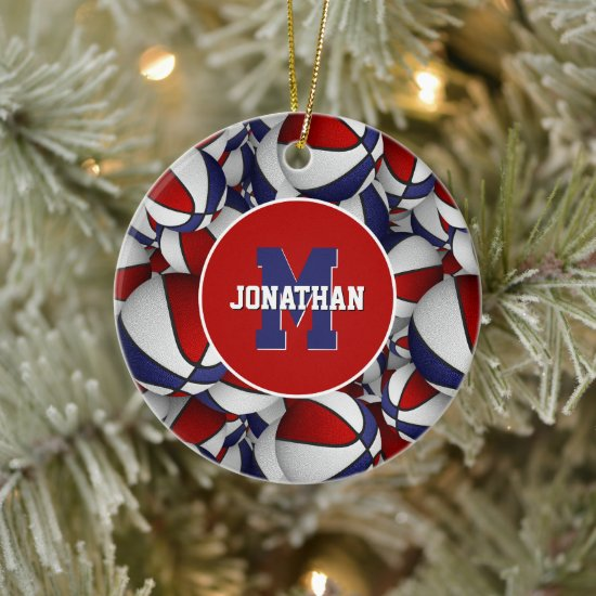 red white blue sports personalized basketball ceramic ornament