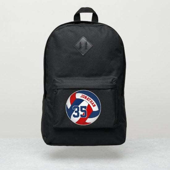 red white blue sports team colors volleyball port authority® backpack