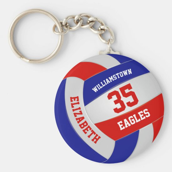 red white blue sports team girls boys volleyball keychain
