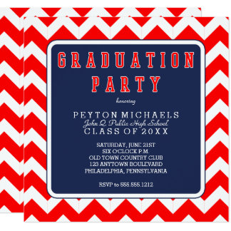 Red White Blue Sporty Chevrons Graduation Party Card