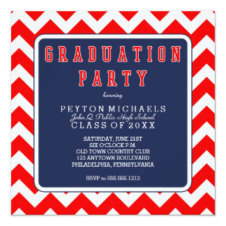 Red White Blue Sporty Chevrons Graduation Party 5.25x5.25 Square Paper Invitation Card