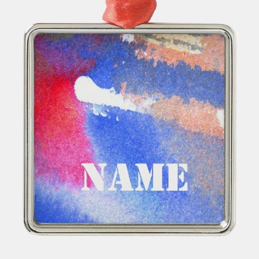 Red White & Blue Square Metal Christmas Ornament