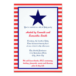 Red White & Blue Star - 3x5 Party Invitation