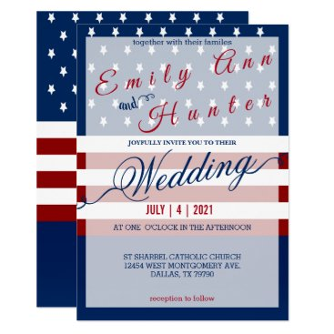 Red, White & Blue Star and Stripe Wedding Card