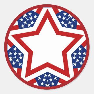 Red White & Blue Star Design to Add Text Classic Round Sticker