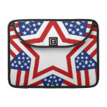 Red White & Blue Star Design to Add Text Sleeves For MacBooks