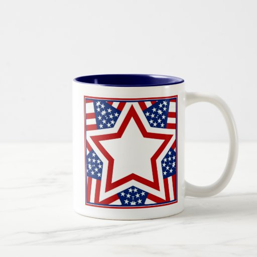 Red White & Blue Star Design to Add Text Mugs