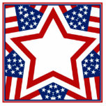 Red White & Blue Star Design to Add Text Photo Sculptures
