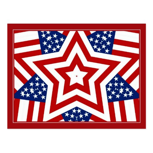 Red White & Blue Star Design to Add Text Postcards