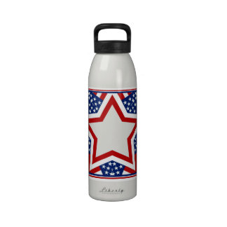 Red White Blue Star Design to Add Text Reusable Water Bottle