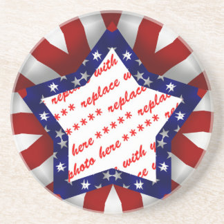 Red White & Blue Star Shaped Photo Frame Coaster