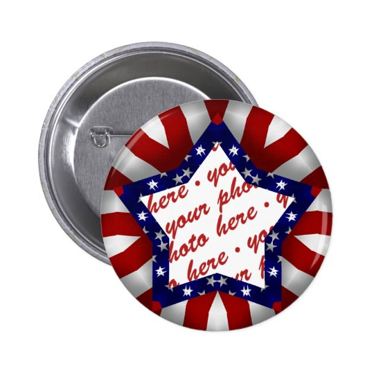 Red White & Blue Star Shaped Photo Frame Pinback Button