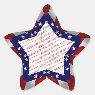 Red White & Blue Star Shaped Photo Frame Star Sticker