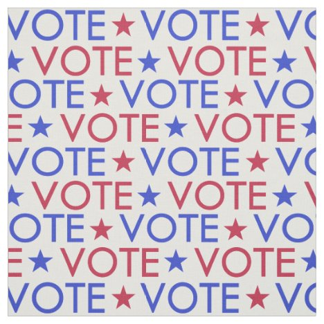 Red White Blue Star Vote Pattern Fabric