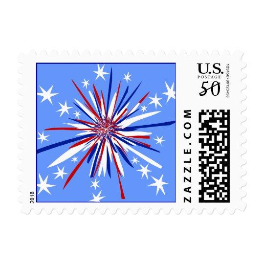 Red White & Blue Starburst Postage