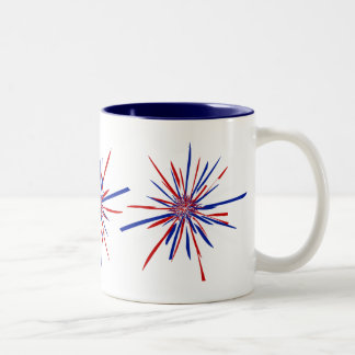 Red White & Blue Starburst Two-Tone Coffee Mug