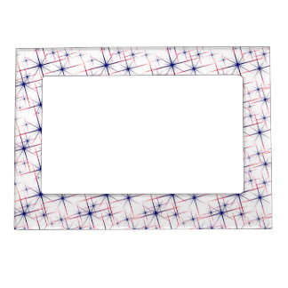 Red white & blue starbursts magnetic picture frame