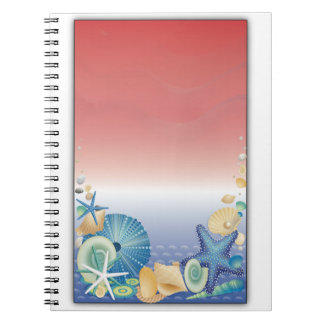 Red White Blue Starfish Shell Montage Notebook