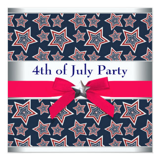 Red White Blue Stars 4th of July BBQ Party Card