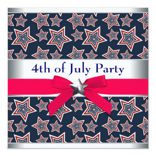 Red White Blue Stars 4th Of July Bbq Party Card at Zazzle