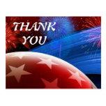 Red White Blue Stars and Fireworks Thanks Postcard