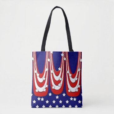 USA Themed Red White Blue Stars and Stripes Patriotic Tote Bag