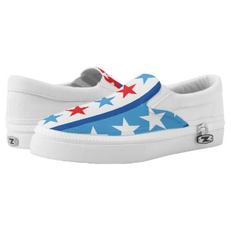 Red White Blue Stars and Stripes Printed Shoes