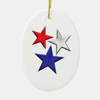 Red White Blue Stars Ceramic Ornament