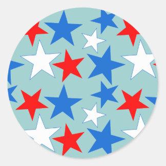 Red White & Blue Stars Classic Round Sticker