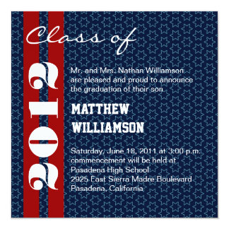 Red  White Blue Stars Graduation Invitation