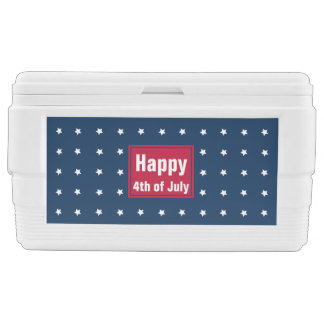 Red White Blue Stars Pattern 4th of July BBQ Party Chest Cooler