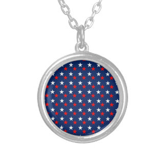 RED WHITE BLUE STARS PATTERN BACKGROUNDS WALLPAPER ROUND PENDANT NECKLACE